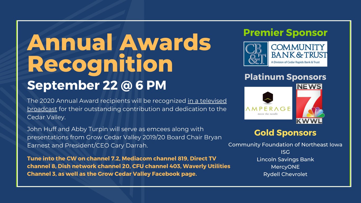 Grow Cedar Valley Announces Televised Broadcast of Annual Awards Recognition