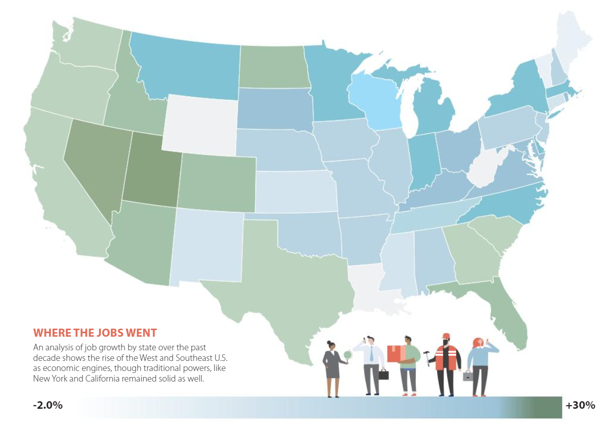 Map of job growth in the last decade in the United States.