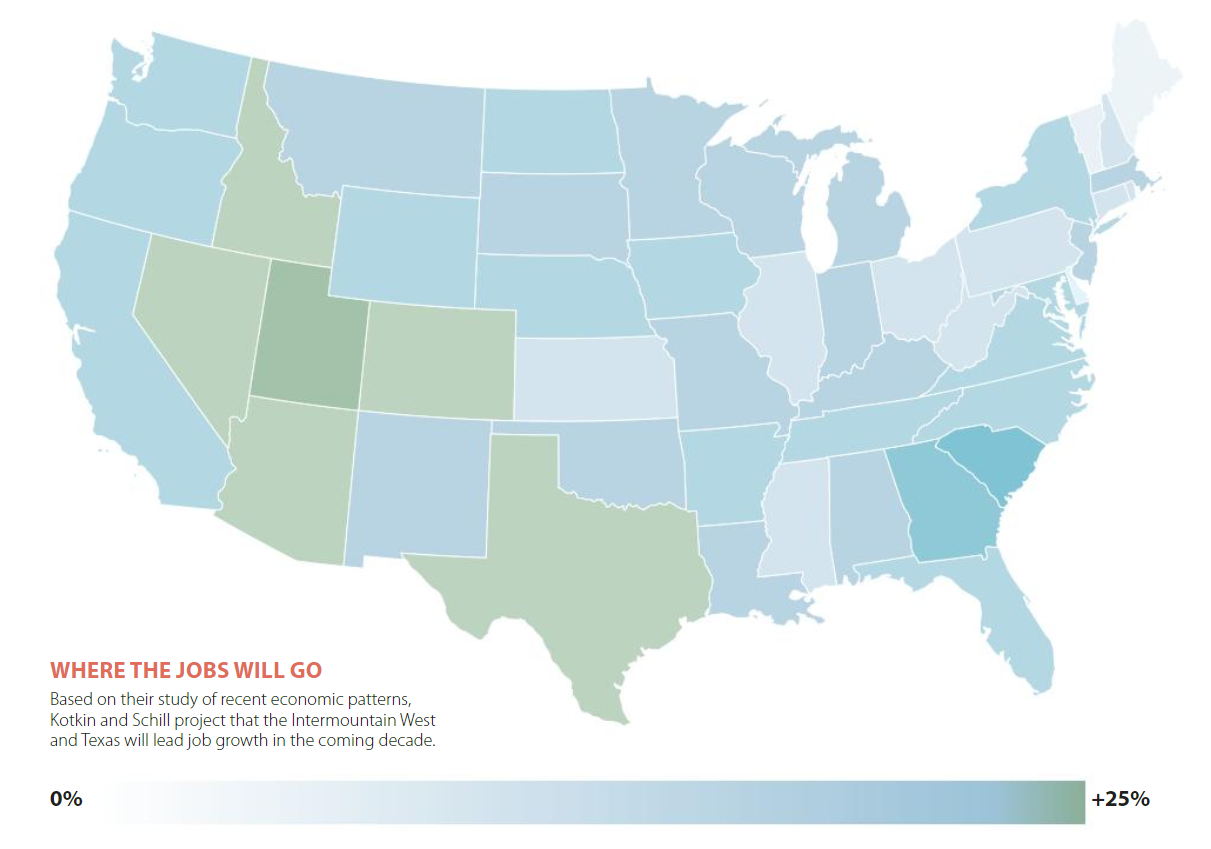 Map of where job growth will go in the Untied States over the next decade.